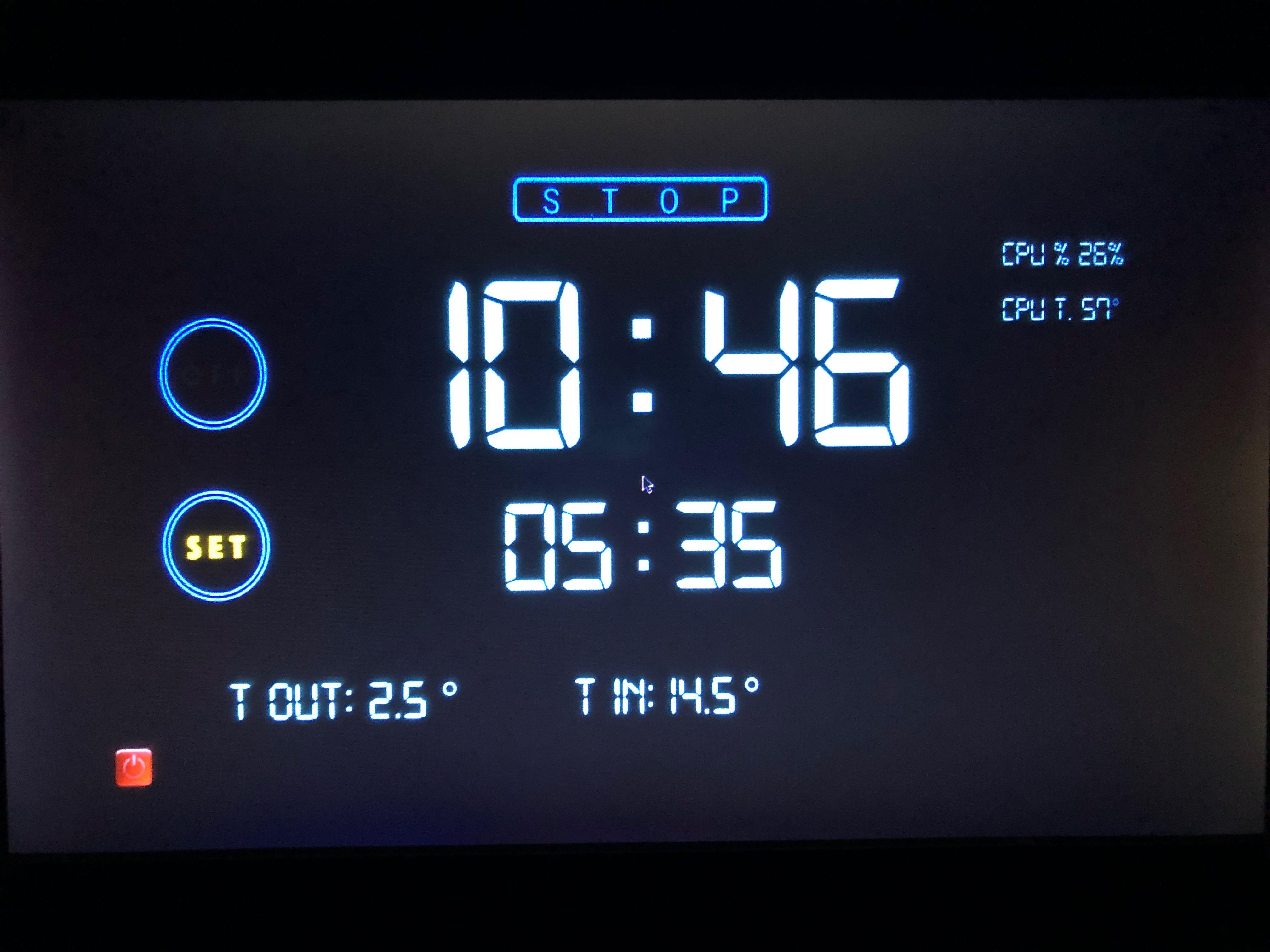 alarm-clock con touchscreen, raspy e python
